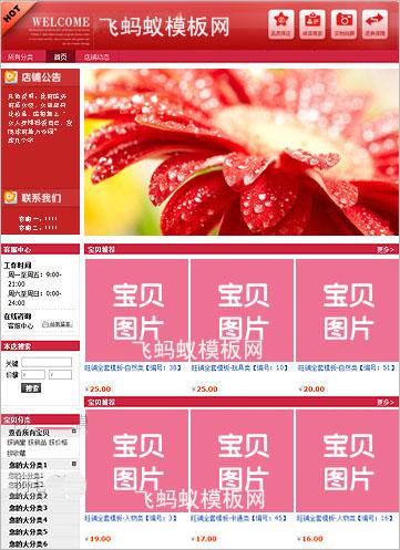 【站长推荐】红色大气淘宝基础版装修免费模板教程