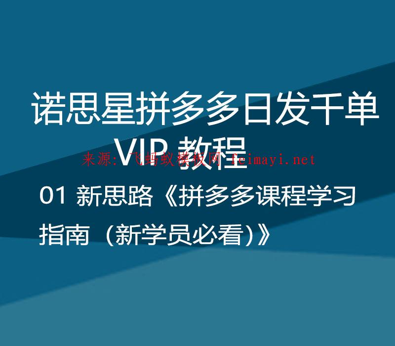 诺思星拼多多日发千单VIP教程 01 新思路《拼多多课程学习指南(新学员必看)》