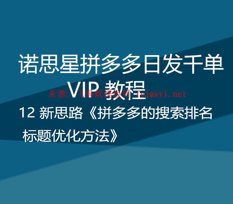 诺思星拼多多日发千单VIP教程 12 新思路《拼多多的搜索排名标题优化方法》